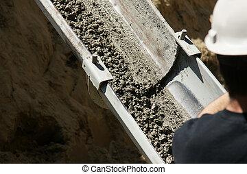 baixo, executando, cimento