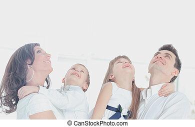 baixo, família, deitando, cima, olhar, harmonioso