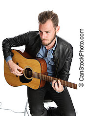 baixo, guitarra, músico, sentando