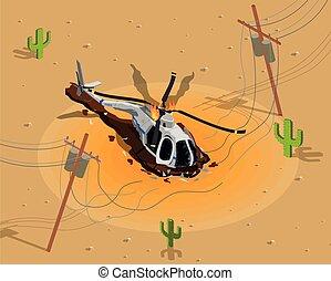 baixo, helicóptero, tiro, composição