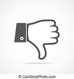 baixo, icon., vetorial, polegar, illustration.