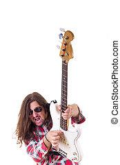 baixo, jovem, rosto, guitarra, homem, expressão, tocando, elétrico