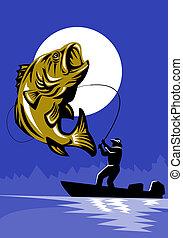 baixo largemouth, pesca, peixe