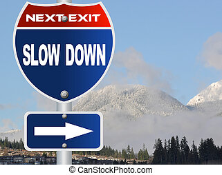 baixo, lento, sinal estrada