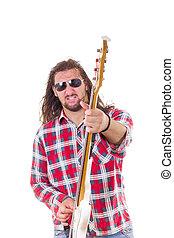 baixo, músico, rosto, guitarra, macho, expressão, tocando