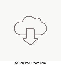 baixo, nuvem, linha, icon., seta