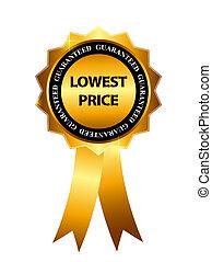 baixo, ouro, preço, ilustração, etiqueta, vetorial, modelo, sinal, garantia
