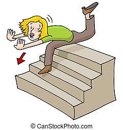 baixo, queda, mulher, escadas