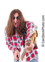 baixo, rosto, guitarra, elétrico, homem, expressão, tocando, camisa