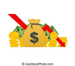 baixo seta, ações, dinheiro, conceito, crise, outono, bankruptcy., dinheiro, gráfico financeiro, mercado, illustration., loss., vetorial