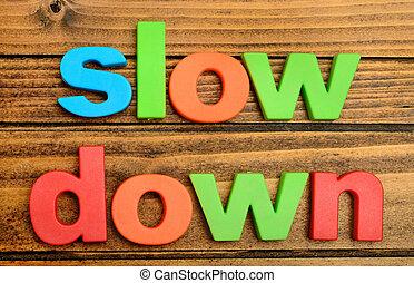 baixo, tabela, lento, palavra