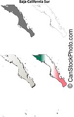 Baja California Sur outline map set - Baja California Sur...