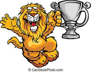 bajnok, kép, oroszlán, vektor, karikatúra, boldog