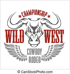 bajnokság, cowboy, nyugat, -, rodeo., emblem., vektor, vad