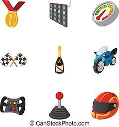 bajnokság, formula 1, ikonok, állhatatos, karikatúra, mód