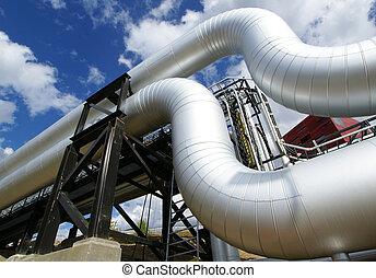 bajo - ángulo, escalera, refinería, tiro, tubos