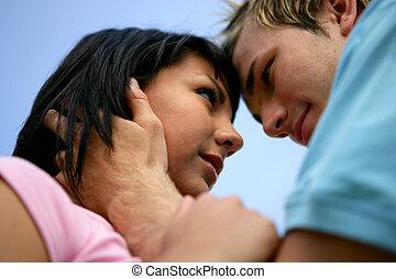 bajo - ángulo, sobre, tiro, pareja, beso