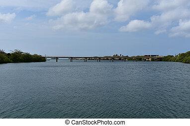 bajo, aruba, extender, puente, encima, español, largo, laguna