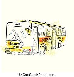 bajo, autobús, ángulo, clásico, bosquejo, perspectiva, grande