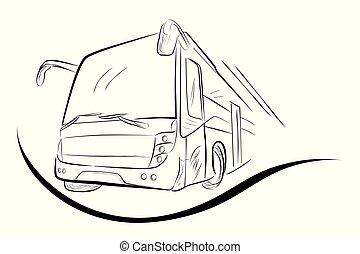 bajo, autobús, moderno, ángulo, bosquejo, perspectiva, grande