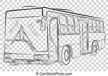 bajo, autobús, transparente, ángulo, clásico, efecto,...