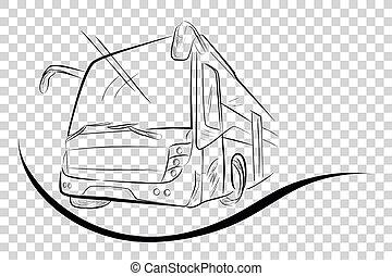 bajo, autobús, transparente, moderno, ángulo, efecto,...