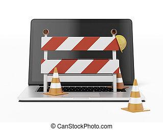 bajo construcción, con, computador portatil