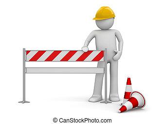 bajo construcción, concept., trabajador, estantes, por, el, barrier., uno, de, un, 1000+, series.