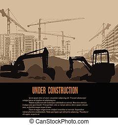 bajo construcción, concepto, con, excavador, edificios, y, grúas