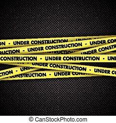 bajo construcción, en, cinta, en, metal, plano de fondo