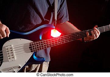 bajo, -, guitarra, banda, música, rendimiento, iluminar ...