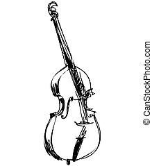 bajo, orquesta, grande, instrumento, violín, musical