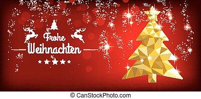bajo, poly, árbol de navidad, rojo, titular, frohe,...