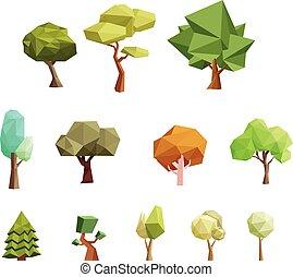 bajo, poly, árboles, para, juego, y, más