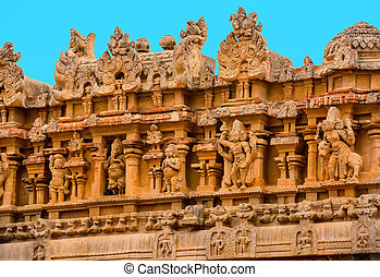 bajorrelieve, fragmento, hindú, india, brihadishvara,...