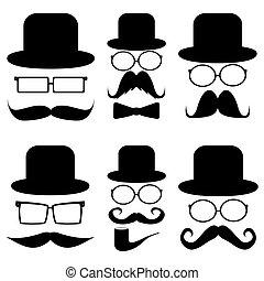 bajusz, állhatatos, kalapok, szemüveg