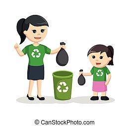 bak, dochter, haar, afval, moeder, zetten, onderwijs