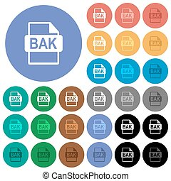 BAK file format round flat multi colored icons