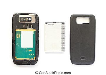 bak, mobiltelefon, battery., gammal
