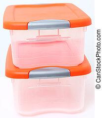 bak, opslagcontainer, plastic