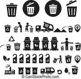 bak, recycling, set, iconen