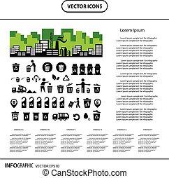 bak, recycling, set, pictogram