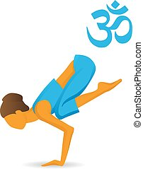 bakasana, kraan, pose, yoga, of