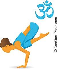 bakasana, kran, pose, yoga, eller