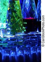 bakbelyst, flaskor, in, pub