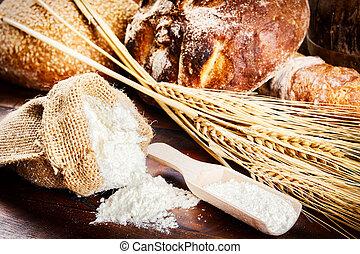 bakbestanddelen, rustiek, vatting, vers brood