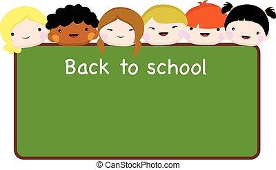 bakc, crianças escola, tábua