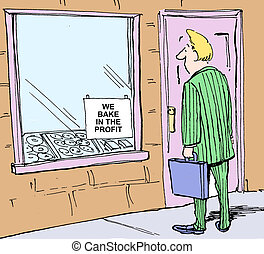 Bake in the profit - Cartoon of businessman looking at sign ...