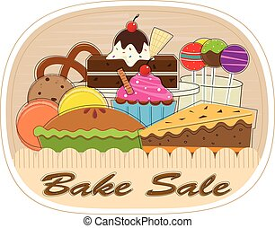 Clip art of assorted pastries with bake sale text at the bottom. Eps10