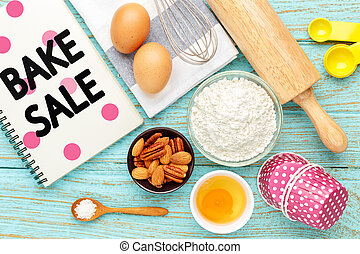 Bake sale with baking ingredients - Bake sale background...